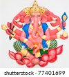 Indian or Hindu God Ganesha avatar image in stucco low relief technique with vivid color,Wat Samarn, Chachoengsao,Thailand. - stock photo