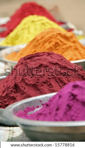 Indian Pigments and Dyes - stock photo