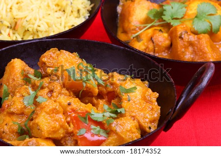Indian potato curry in a balti serving dish