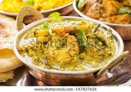 indian prawn curry - stock photo