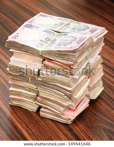 Indian rupees stack - stock photo