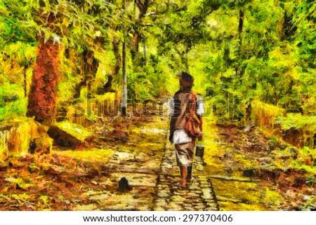 Indian Sadhu walking among jungle with abandoned ruins oil painting - stock photo