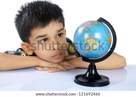 Indian School Boy With Globe - stock photo