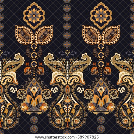 Indian Seamless Pattern Wallpaper With Paisley Ethnic Style