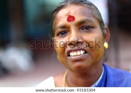 Indian senior women looking at the camera. - stock photo