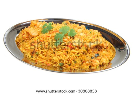 Indian shrimp biriani - stock photo