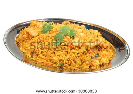 Indian shrimp biriani - stock photo