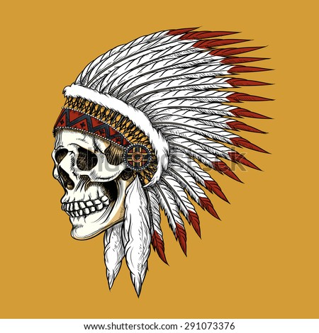 Indian skull. Feather and tribal, bone and skeleton, western cowboy