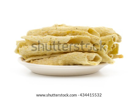 Indian special traditional street food Fafda - stock photo