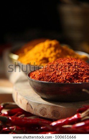 Indian spices/ Chili Flakes and Turmeric - stock photo