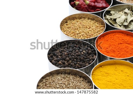 indian spices collection on white background - stock photo