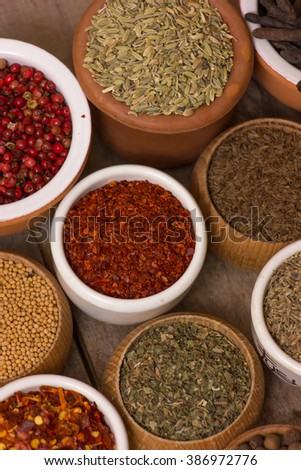 Indian spices in a  pots.