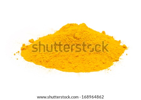 Indian Spices Of Turmeric Powder Pile On White Background