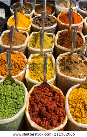 Indian Spices on the market. - stock photo