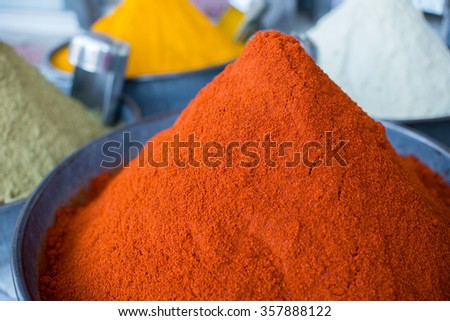 Indian spices on the market, chili powder