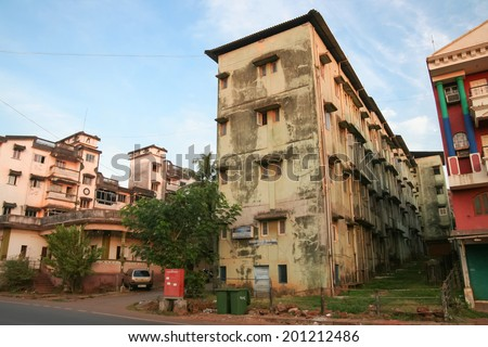 Indian street and buildings - stock photo