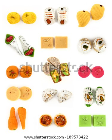 Indian sweets (mithai) isolated on white background. - stock photo