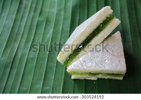 Indian sweets on banana leaf
