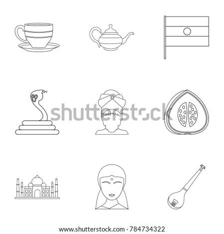 Indian Symbols Icon Set Outline Style Stock Illustration 784734322