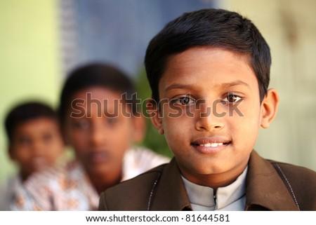 Indian teen boys posing to the camera. - stock photo