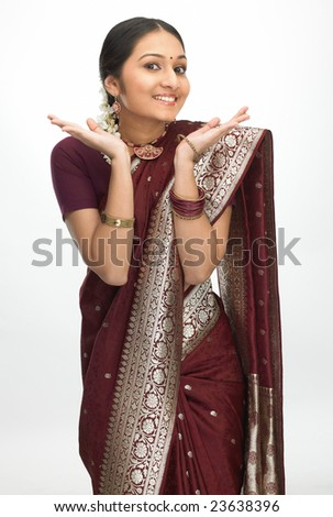 Indian teenage girl with nice face expression - stock photo