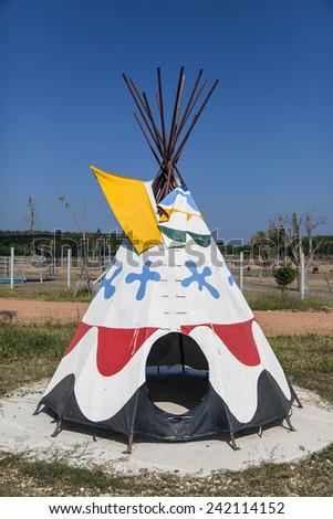 indian teepee set up - stock photo