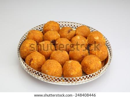 Indian Traditional Diwali sweets called Motichoor Ladoo - stock photo