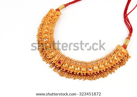Indian Traditional Jewellery Necklace Isolated on White