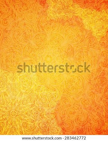 Indian tribal orange pattern,  illustration,  - stock photo