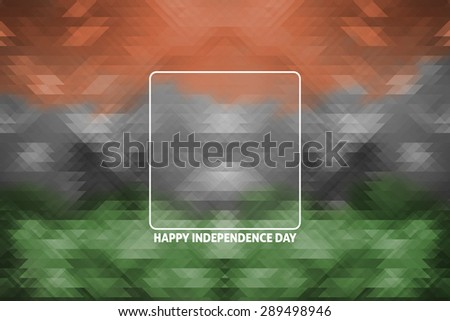 Indian tricolors with triangle surface geometric background, independence day and republic concept - stock photo