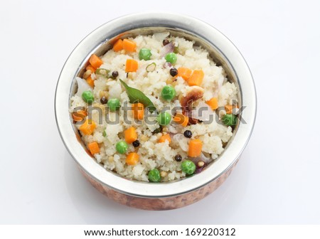 Indian Vegetarian Food-rava upma - stock photo