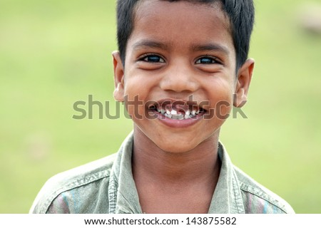 Indian Village Little Boy - stock photo