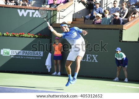 INDIAN WELLS, CA - MARCH 12:  Juan Martin Del Potro plays in round 2 of the Men's singles tournament  at the BNP Paribas Open on March 12, 2016 in Indian Wells, California.