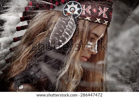 Indian woman hunter - stock photo