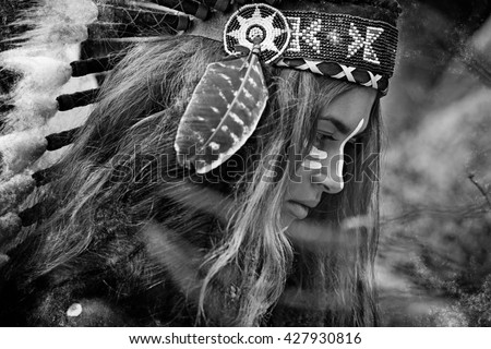 Indian woman hunter. Black and white portrait - stock photo