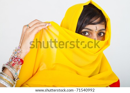 indian woman in sari - stock photo