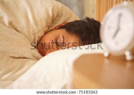 Indian woman sleeping - stock photo