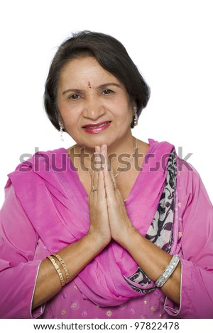 Indian woman traditional namaste greeting