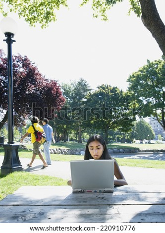 Indian woman typing on laptop outdoors - stock photo