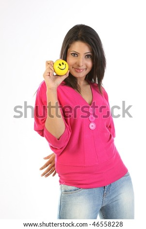 Indian woman with smile ball - stock photo
