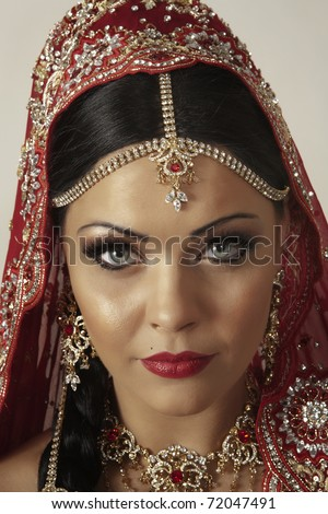 indian women dress in red - stock photo