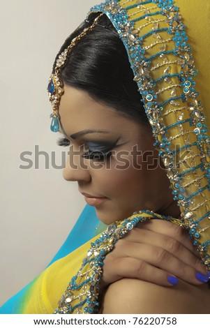 indian women dress in yellow - stock photo