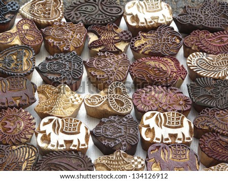 Indian wood carving printing block stamp for textile design - stock photo