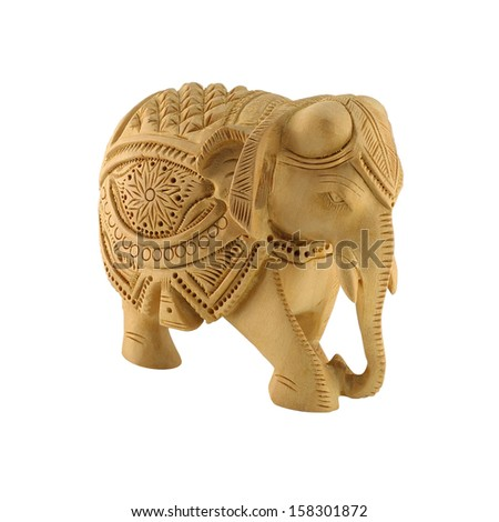 Indian wooden hand made statue of an elephant. - stock photo