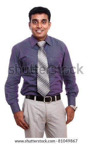 Indian young businessman isolated on white background.