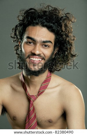 Indian young fitness man posing to the camera. - stock photo