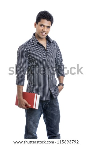 Indian Young happy student carrying books on white. - stock photo