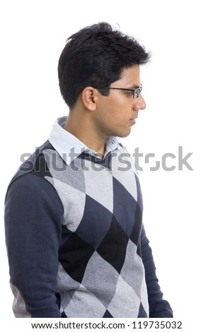 Indian young man portrait on white. - stock photo