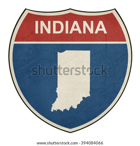 Indiana American interstate highway road shield isolated on a white background. - stock photo
