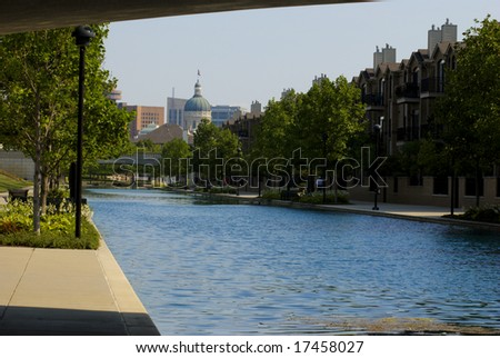 Indiana Capitol Building from Canal and White River State Park - stock photo
